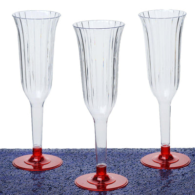 12 Champagne Flutes - Red