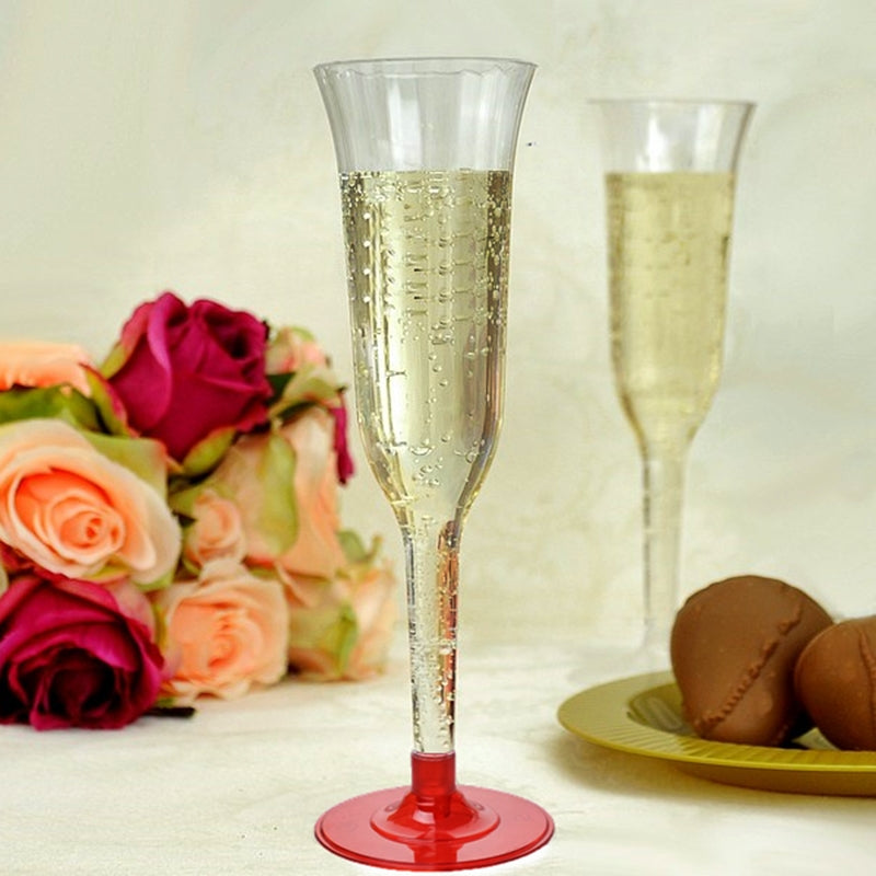 Champagne Flared Flute with a Red Base