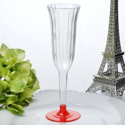 12 Pack 6oz Clear with Red Base Plastic Disposable Toast Flutes