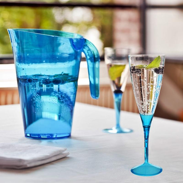 6 Pack | 5 oz | Plastic Champagne Flutes Disposable | Serenity Blue | Colored Detachable Base
