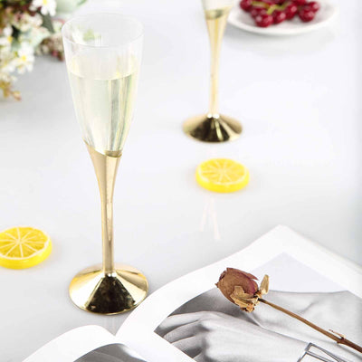 6 Pack 5oz Clear with Gold Base Disposable Champagne Wine Flutes