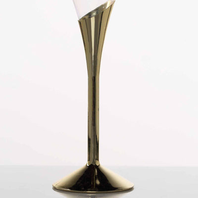 Plastic Champagne Flutes Disposable | 5 oz | 6 Pack | 2-Piece | Gold | Colored Detachable Base