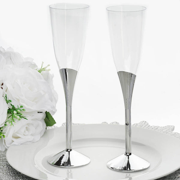 6 Pack | 5 oz | Plastic Champagne Flutes Disposable | Silver | Colored Detachable Base