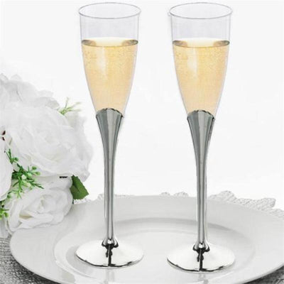 Plastic Champagne Flutes Disposable | 5 oz | 6 Pack | 2-Piece | Silver | Colored Detachable Base