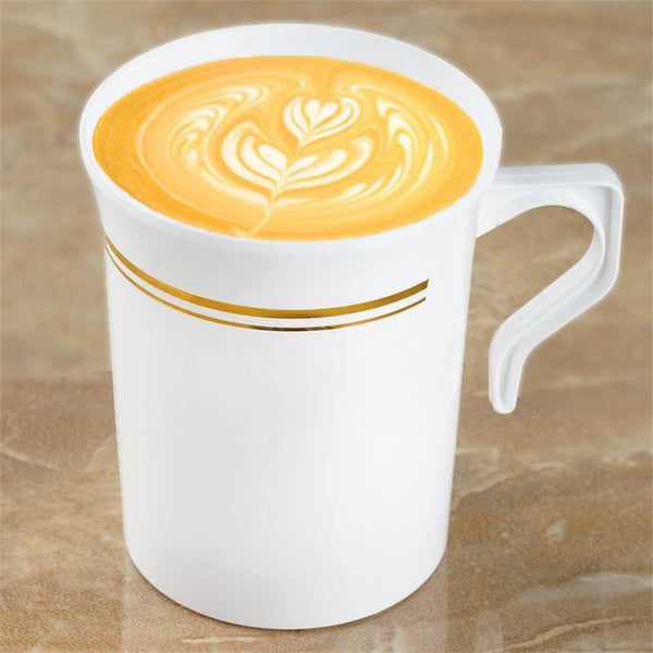 8 Pack - 8oz White with Gold Tres Chic Collection Disposable Plastic Coffee Cups
