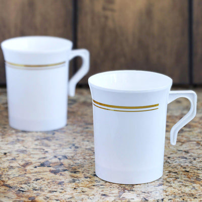 8 Pack White with Gold 8oz Disposable Coffee Cups Tres Chic Collection