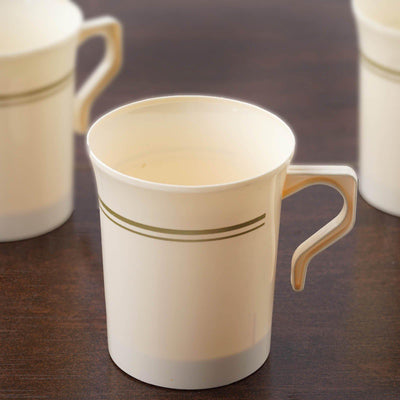 8 Pack Ivory with Matte Gold 8oz Disposable Coffee Cups Antique Collection