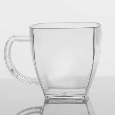 Set of 8 - 5oz Clear Square Disposable Plastic Coffee Cups