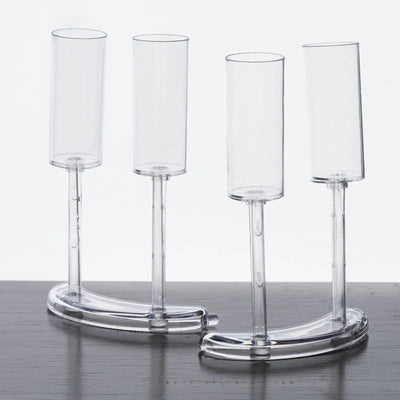 2 Pack - Clear Fancy 0.75oz Disposable Jello Shot Glass w/ Crescent Base