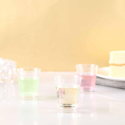 24 Pack | 2 Oz Round Clear Disposable Plastic Shot Glasses | Mini Party Disposable Cups