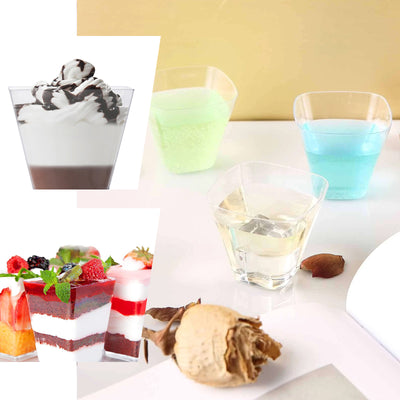 24 Pack Clear 4oz Eye Catching Plastic Rounded Cube Disposable Cup