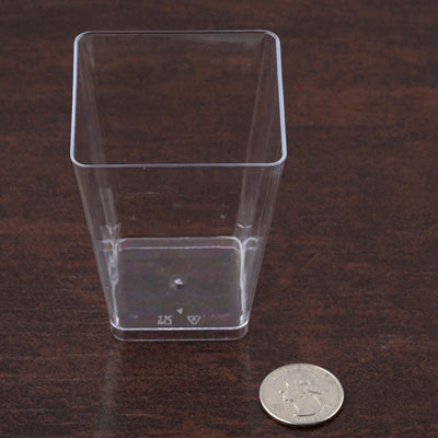 24 Pack Clear 6oz Tantalizing Plastic Square Disposable Tumbler Glass