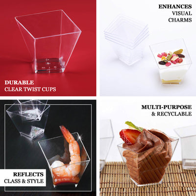 50 Pack Clear 2oz Contemporary Square Twist Disposable Dessert Cup