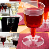 20 Pack - 6oz Clear Disposable Plastic Wine Cups - Crystal Collection