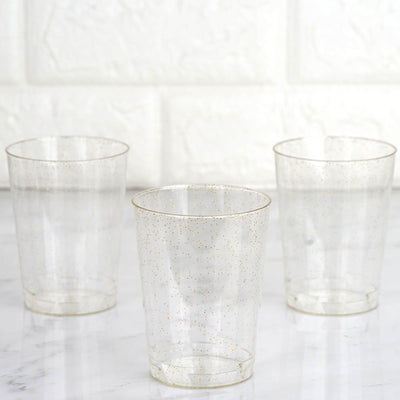 25 Pack 10oz Gold Glitter Sprinkled Clear Plastic Disposable Glass Cups