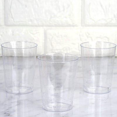 25 Pack 10oz Silver Glitter Sprinkled Clear Plastic Disposable Glass Cups