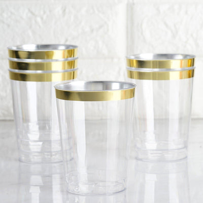 25 Pack Gold 10oz Disposable Cups Crystal Collection
