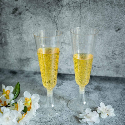 12 Pack 5oz Gold Glittered Clear Champagne Flutes Cocktail Disposable Plastic Glasses