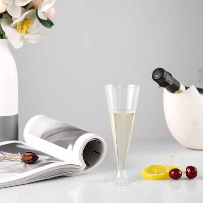 Plastic Champagne Flutes Disposable | 7 oz | 12 Pack | 2-Piece | Clear | Trumpet Design | Detachable Base