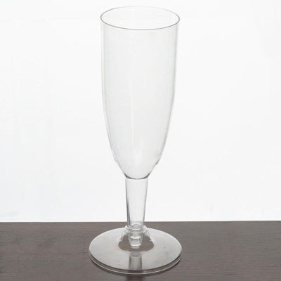 Plastic Champagne Flutes Disposable | 4 oz | 12 Pack | Clear | Imperial Collection | Detachable Base