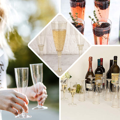 12 Pack | 4 oz | Plastic Champagne Flutes Disposable | Clear | Imperial Collection | Detachable Base