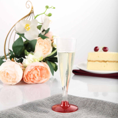 12 Pack 5oz Clear with Red Base Plastic Disposable Champagne Flutes