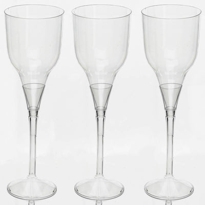 6 Pack - Clear 7oz Svelte Stem Clear Disposable Champagne Glass