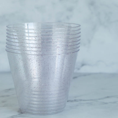 12 Pack 9oz Blush | Rose Gold Plastic Disposable Glittered Glass Cups