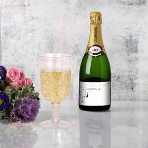 12 Pack 7oz Clear with Blush Glitter Plastic Disposable Champagne Glass