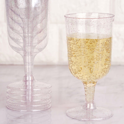Pack of 12 - 7oz Glittered Clear Disposable Plastic Wine Cups - Blush/Rose Gold