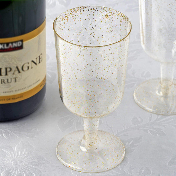 12 Pack - 7oz Gold Glittered Clear Disposable Plastic Wine Cups