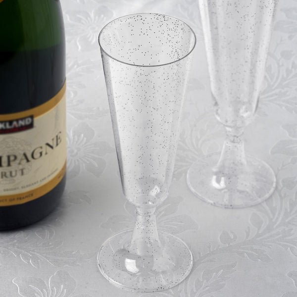12 Pack | 5 oz | Plastic Champagne Flutes Disposable | Silver | Glitter Sprinkled Design | Detachable Base