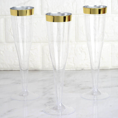 12 Pack 6oz Gold Rimmed Clear Champagne Flutes Cocktail Disposable Plastic Glasses