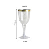 12 Pack | 9 oz | Plastic Disposable Wine Glass | Gold | Rimmed Design | Detachable Base
