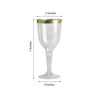12 Pack | 9 oz | Plastic Champagne Flutes Disposable | Gold | Rimmed Design | Detachable Base