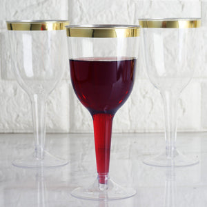 Plastic Champagne Flutes Disposable | 9 oz | 12 Pack | 2-Piece | Gold | Rimmed Design | Detachable Base