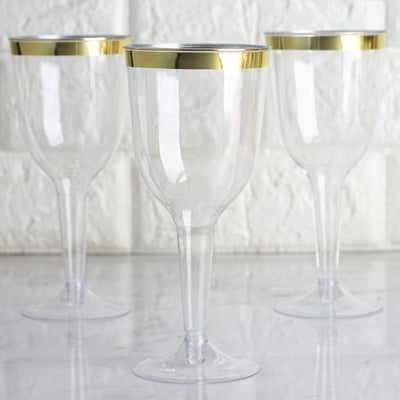 12 Pack 6oz Gold Rimmed Clear Champagne Flutes Cocktail Disposable Plastic Goblet Glasses