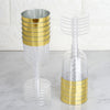 Pack of 12 - 5oz Clear Disposable Plastic Wine Cups - Gold Rimmed Design