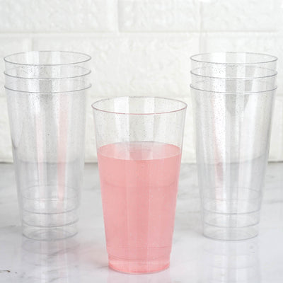 12 Pack 17oz Silver Glitter Sprinkled Clear Plastic Disposable Glass Cups
