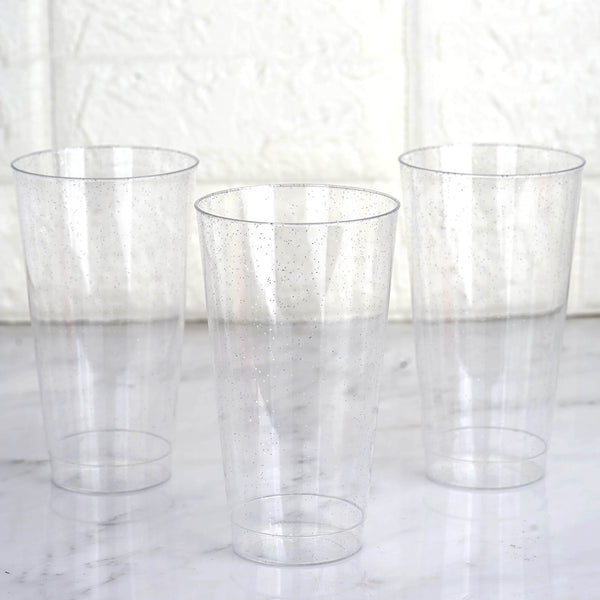12 Pack 16oz Silver Glitter Sprinkled Clear Plastic Disposable Glass Cups