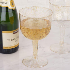 Pack of 6 - 25oz Gold Glittered Clear Large Disposable Plastic Wine Cups