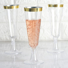 Disposable Plastic Champagne Flutes with Detachable Base | Rimmed Design