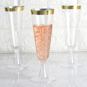 12 Pack 5oz Gold Rimmed Clear Champagne Flutes Cocktail Disposable Plastic Glasses
