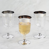 Pack of 12 - 6oz Clear Disposable Plastic Wine Cups - Partytown Silver Rimmed Design