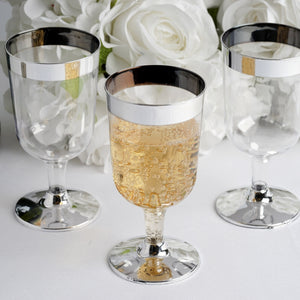 12 Pack Silver Rimmed 6oz Disposable Wine Glass Partytown Plastics