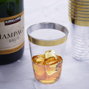 12 Pack 7oz Clear with Gold Rim Plastic Disposable Glass