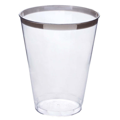 12 Pack 7oz Clear with Silver Rim Plastic Disposable Champagne Glass