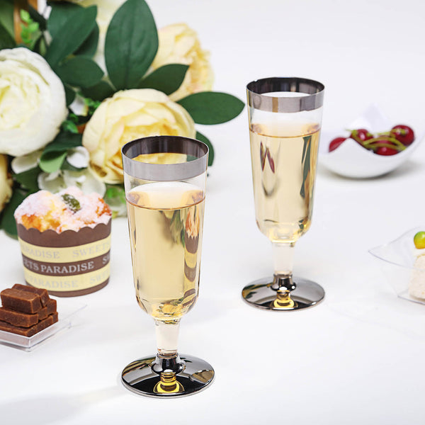 Plastic Champagne Flutes Disposable | 6 oz | 12 Pack | 2-piece | Silver | Rimmed Design | Detachable Base