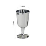 Pack of 12 - 5oz Silver Disposable Plastic Wine Cups - Imperial Design