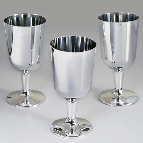 12 Pack - 5oz Silver Disposable Plastic Wine Cups - Imperial Design